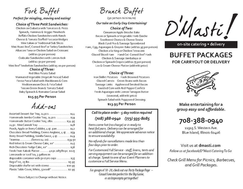 Buffet Package Menus for Easy Entertaining.  D'Masti Catering Inc pg 1