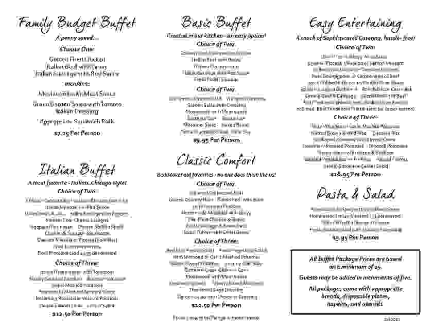 Buffet Package Menus for Easy Entertaining.  D'Masti Catering Inc Pg 2