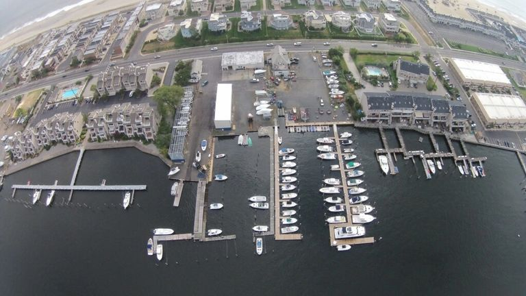 Overhead photograph of Surfside Marina property and docks