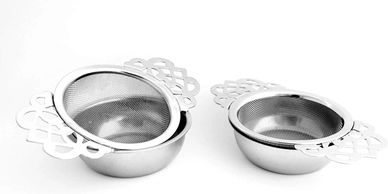 pretty tea strainers with drip cups, strain loose-leaf tea, elderberry tea, elderflower tea