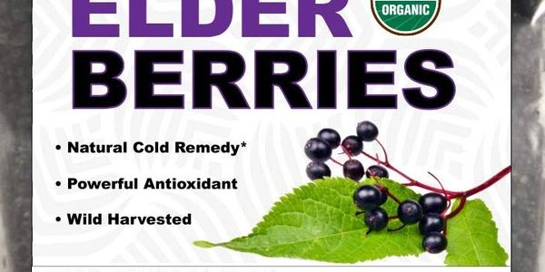 8 oz bag certified organic dehydrated elderberries for tea