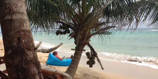 On the beach at Yemaya, Little Corn Island.