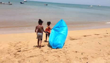 Kids on the beach, Little Corn Island.