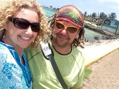 Jo & Mike, the Canadian owners of Drifter's Claim Corn Island.