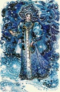 "An old Russian card depicting ""The Snow Child"" which was the inspiration photo for this piece."