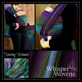 A collage called healing wounds of 4 photos, a pink, green, blue, purple wrap wrapping a newborn