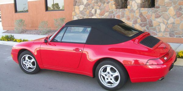 Porsche 911 black canvas convertible top