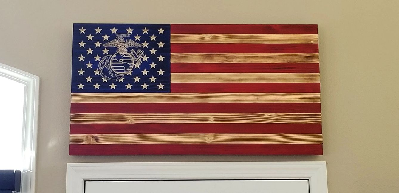 Quality handmade workmanship went into this beautiful rustic Marine Corps Flag.