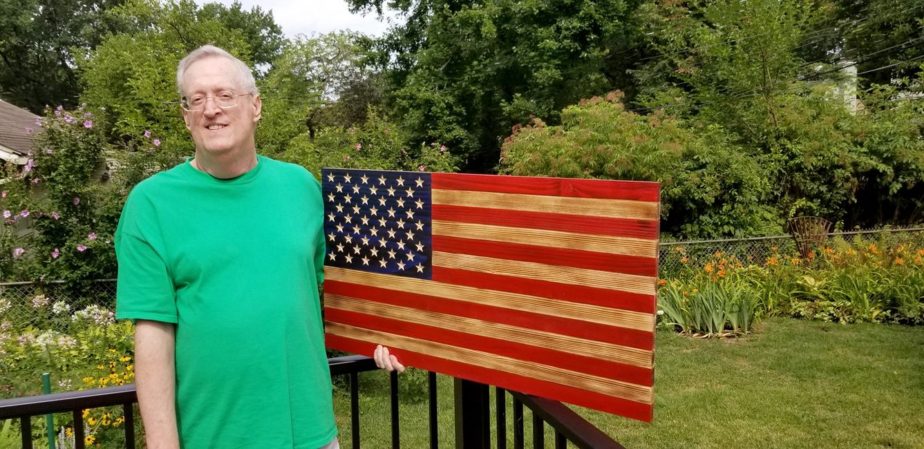 Beautiful Traditional wooden American flag