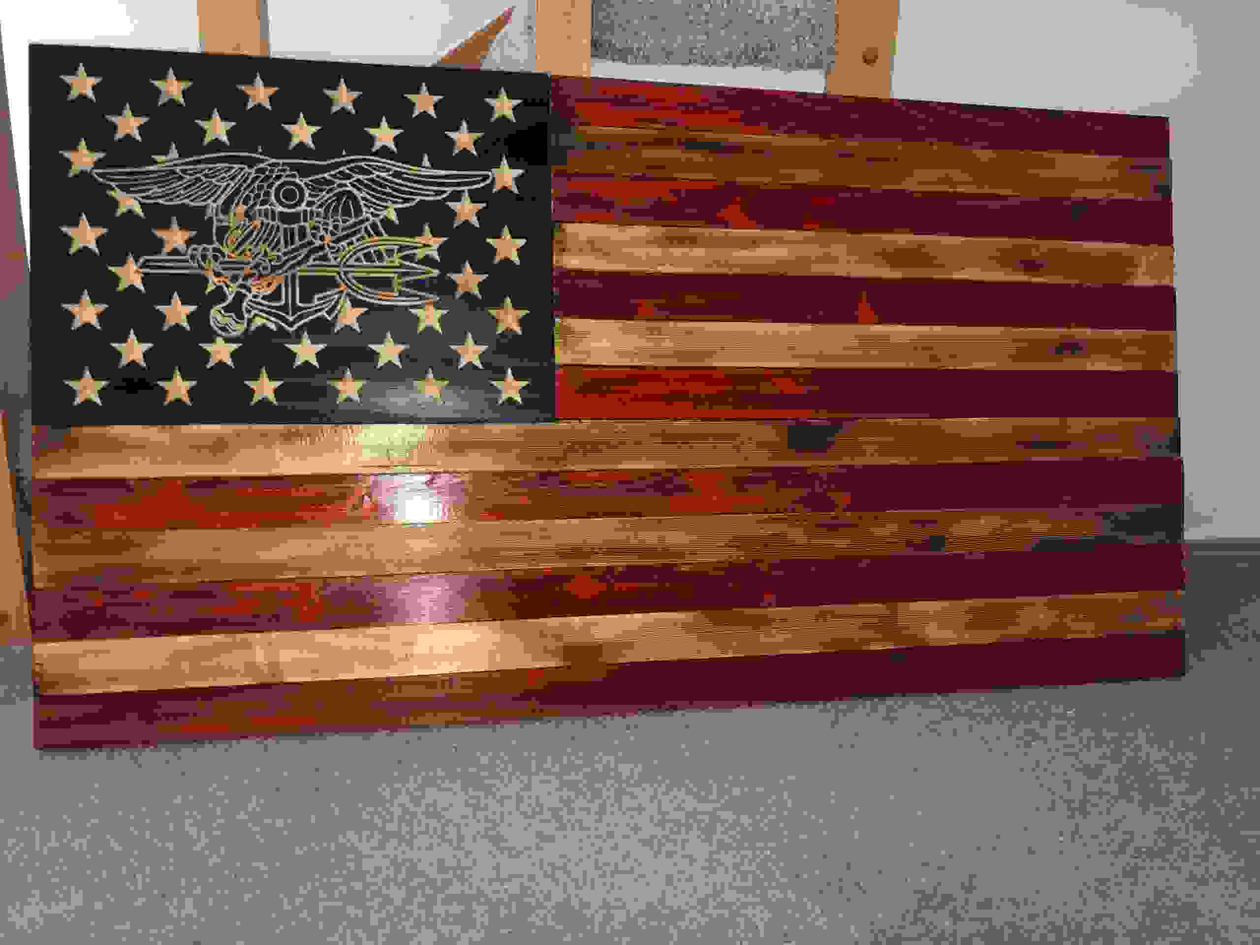 What a beautiful Navy Seal rustic wooden Flag!