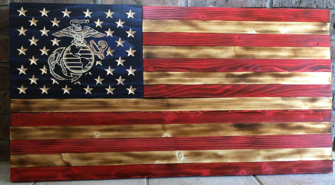 Beautiful Marine Corps wooden flag with the Marine emblem showing the Eagle, Globe, and Anchor (EGA).