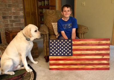 11 year old grandson is my partner.  We build these beautiful rustic wooden flags in Bella Vista, AR