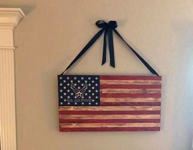 Our beautiful U.S. Air Force flag with carved into the wood, not painted.