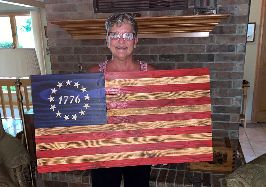 Our beautiful Betsy Ross Flag with 1776 carved into the Union.