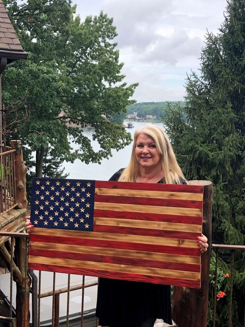 Our beautiful standard 50 star flag with the stars carved into the wood, not painted.