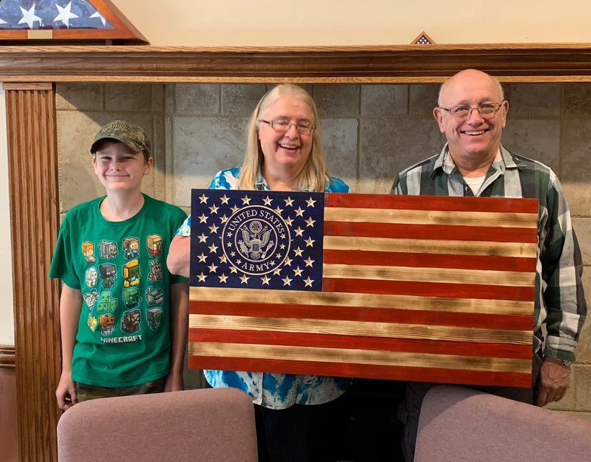 Beautiful US Army Rustic Wooden Flag built by a Vietnam Vet and Grandson.