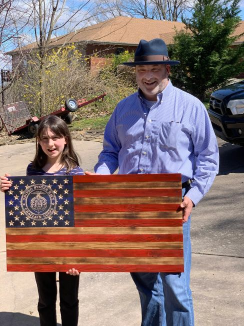 U.S. Navy Chaplains wooden flag.  Build by an Army Vietnam Vet and Grandson in Bella Vista, Arkansas