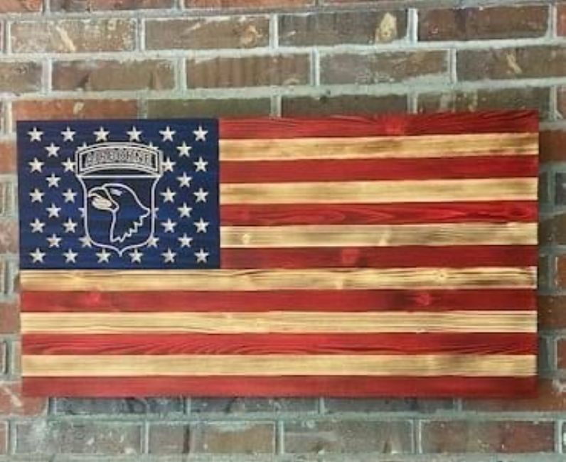 101st Airborne Division (Screaming Eagles) wooden flag