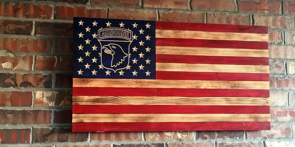 Army 101st Airborne Division flag.  The Screaming Eagles rustic wooden flag.