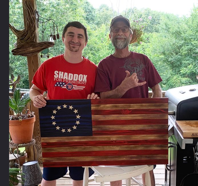 Betsy Ross rustic wooden flag in Bella Vista, Arkansas.  Built by an Army Vietnam Vet and Grandson.