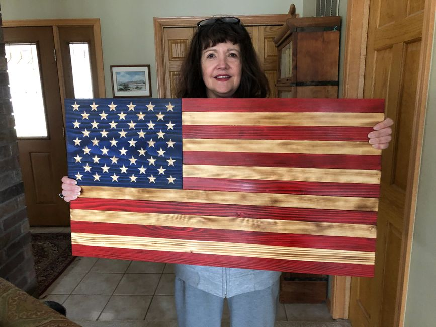 Beautiful rustic 50 star Traditional American wooden flag.  Made by Vietnam Vet and Grandson.