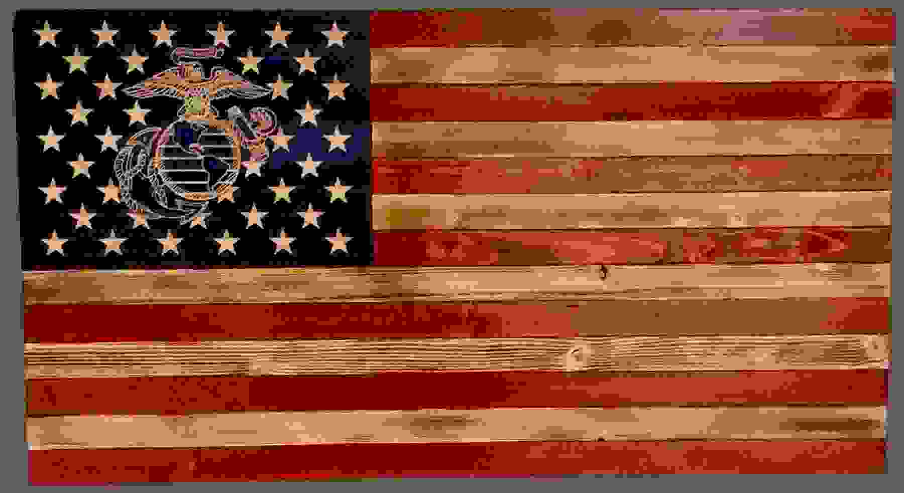 Marine Corps rustic wooden flag with the EAG carved into the wood.