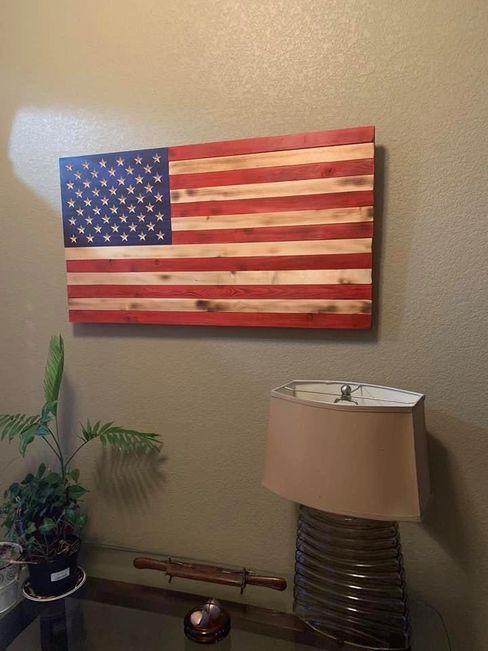 Traditional 50 Star American Flag with carved stars.  Made by Vietnam Vet and Grandson.