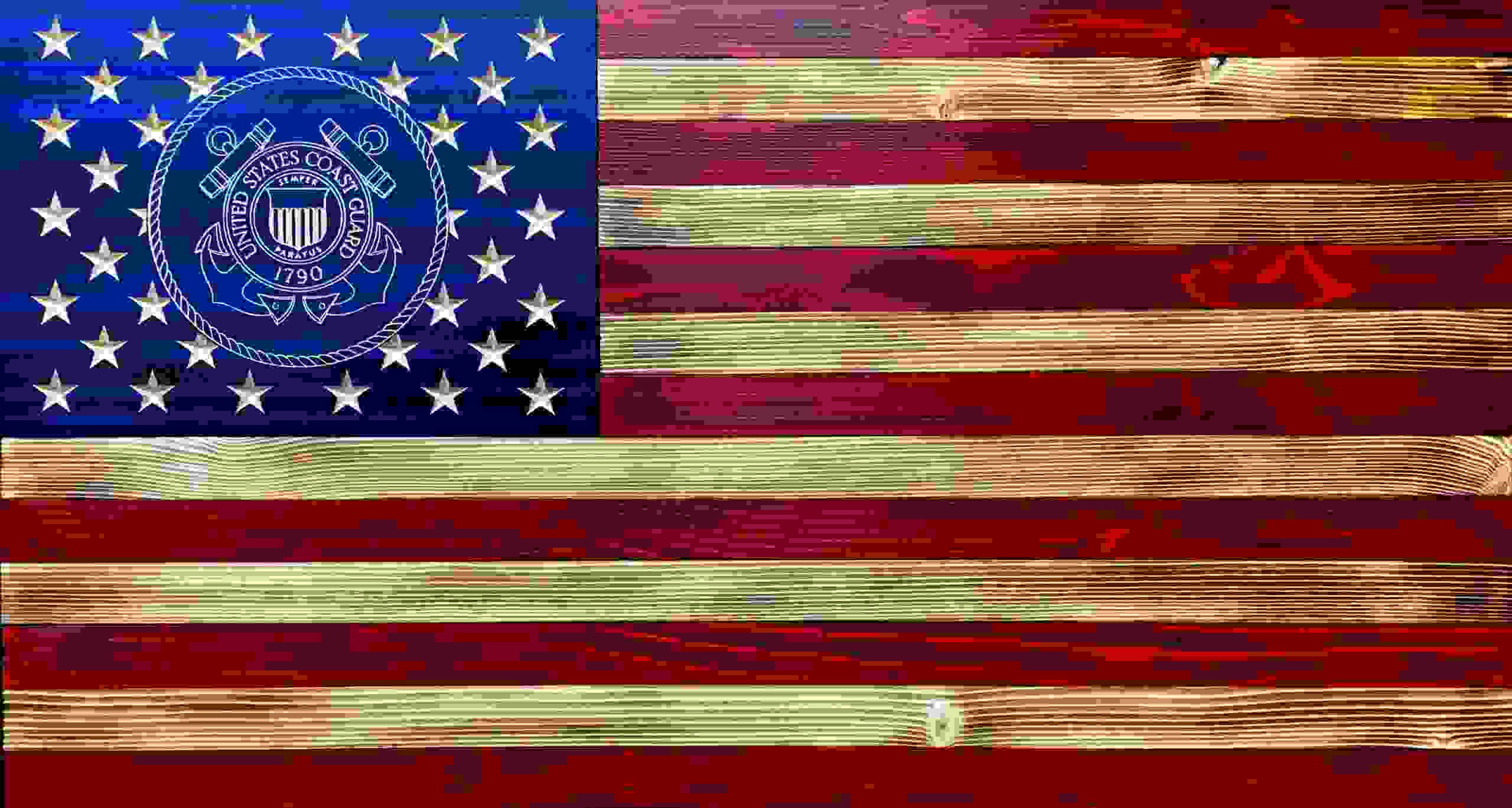 US Coast Guard wooden flag.