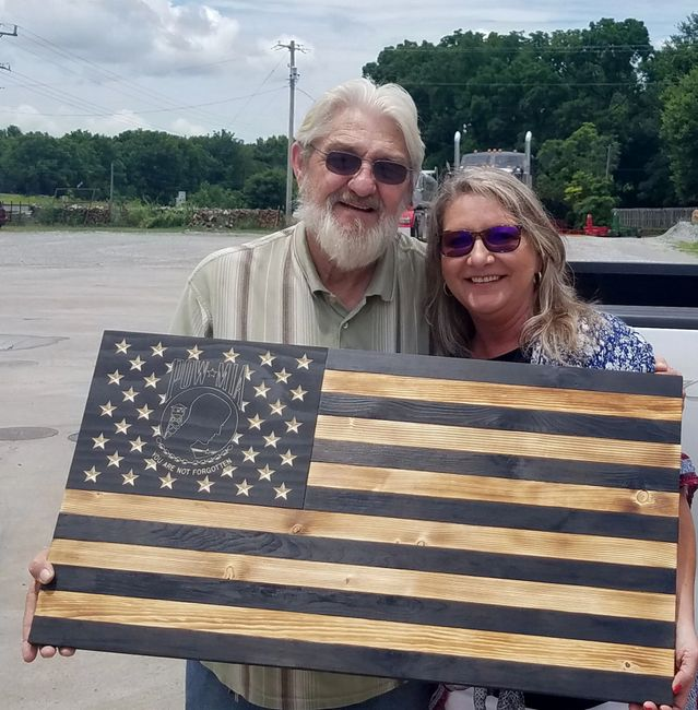 POW/MIA rustic wooden flag built by A Beautiful Flag in Bella Vista, Arkansas (NWA).