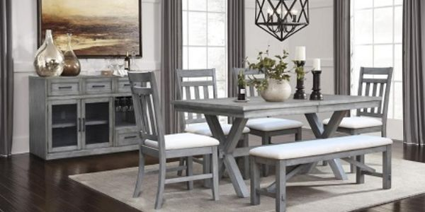 Dining set in gray,  the set includes table with 4 chairs and bench.