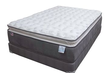 Innerspring pillow top mattress with a matching foundation.