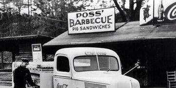 "Poss' offered ""pig sandwiches"" and other traditional American barbecue specialties. It was located o"