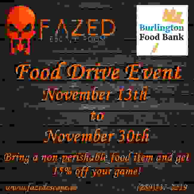 Food Drive Burlington Ontario Escape Room
