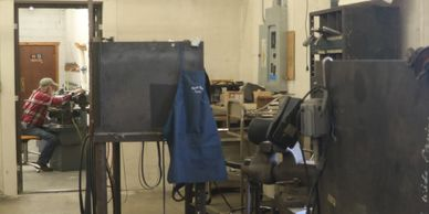 Welding and grinding shop at World Wide Equine, Glenns Ferry, Idaho, USA