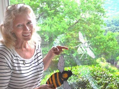Libba Tracy pollinator art bee decal city asheville artist conservation