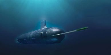 Artist rendering of the USS Rickover firing one of its many sophisticated weapons.