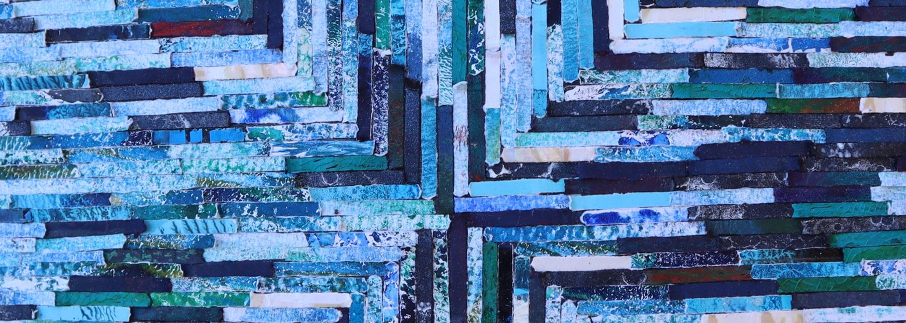 Blue and White Abstract Collage Close UP