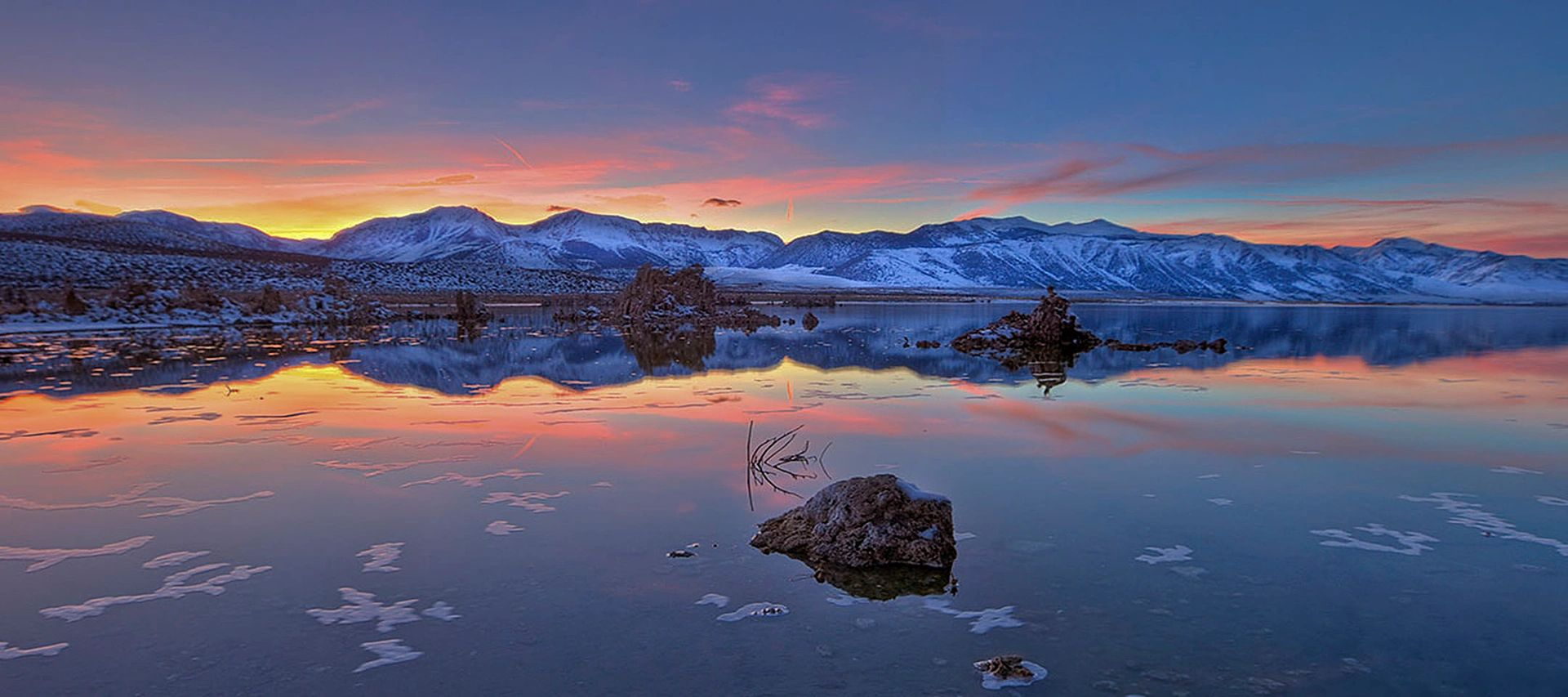 Panorama; Mono Lake Sunset with the Sierra Nevada in the Background