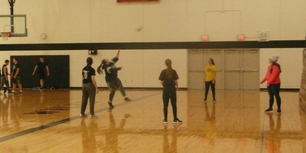 Students playing volleyball and basketball