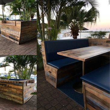 Custom Hospitality Furniture Boat Booth  Seating and Tables