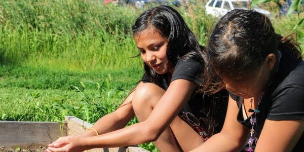 Two Sicangu Lakota girls work in the garden with the Food Sovereignty initiative.