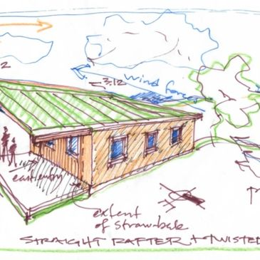 Sketch of a modern sustainable housing option for Rosebud