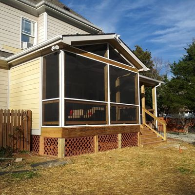 Custom Screen Porch Designed  for the customers needs. Deck Remodel. ScreenTight. Open Gable Concept