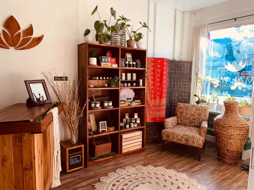 Inside the Malaya Botanicals CBD Beauty & Wellness Boutique in Alameda, California.