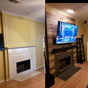 Custom built accent wall and Tv installation.