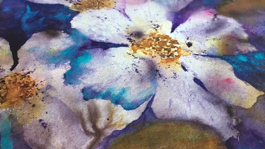 California wildflower watercolor painting by nature art glass artist
