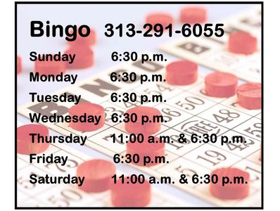 Bingo hall with a capacity of 550 with a full service kitchen and a cart person. Open to the public.