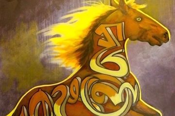 graffiti horse, iron horse art, horse art, equine art, paintings for sale, original art, painting