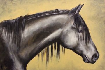 filly, mare, horse, art, equine art, original art, painting, yellow, black, grey