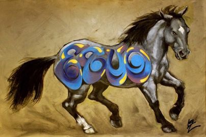"Iron Horse | BLUE | 24"" x 36"" 